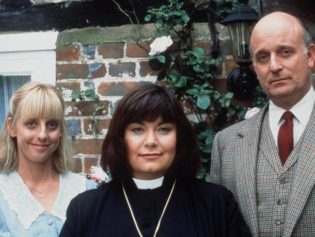 Alice Tinker (Emma Chambers), Vicar Geraldine (Dawn French) and David Horton (Gary Waldhom) in The Vicar of Dibley. Picture: Supplied