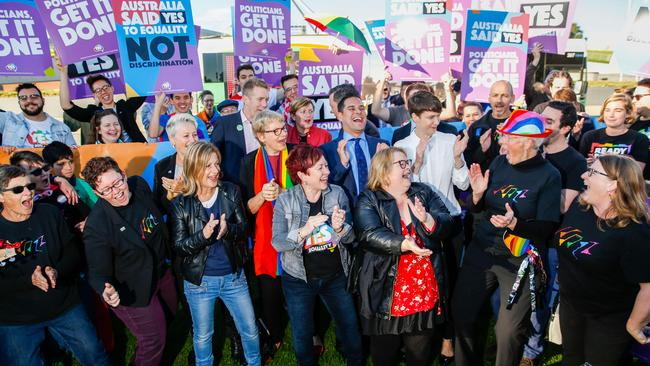 Equality ambassadors and volunteers from the Equality Campaign gather ahead of vote. Picture: Sean Davey/AFP