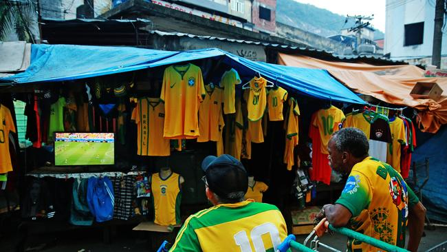 South America's largest Favela, Rocinha is a buzz with football fans on game day.