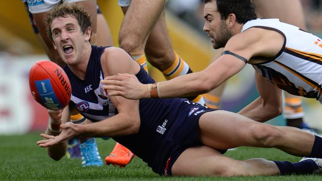 Fremantle will be without Michael Barlow due to a broken thumb. Picture: Daniel Wilkins