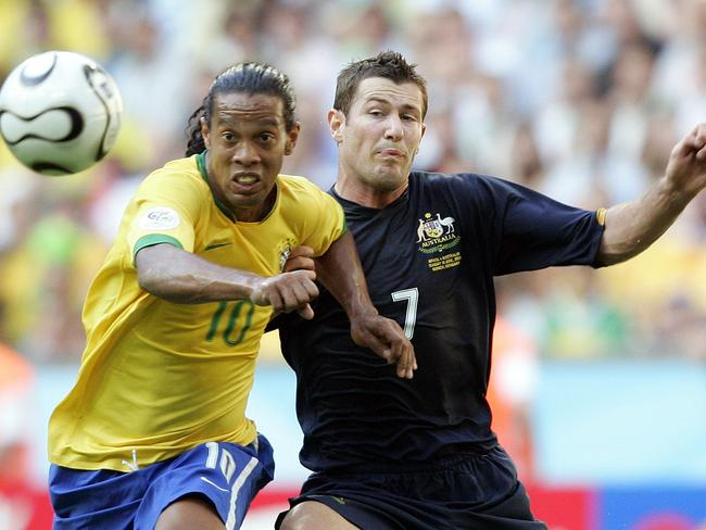 Australia really bared its teeth against the likes of Ronaldinho. AP Pic: Christof/Stache