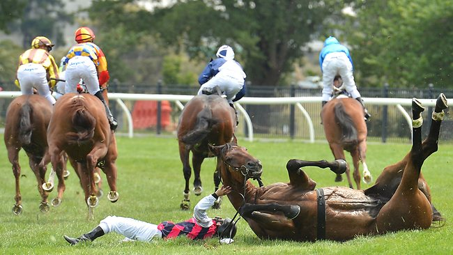 Jockey Ryan Maloney riding Beltrois crashes to ground after winning the Red Tempo Handicap.