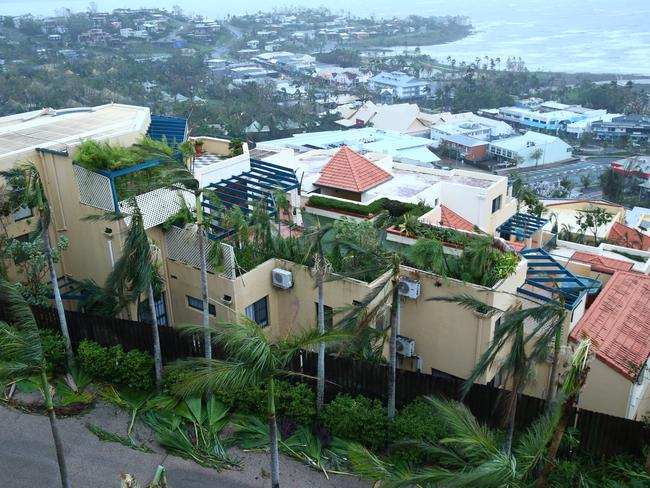 First light has revealed the damage in Airlie Beach. Picture: Liam Kidston