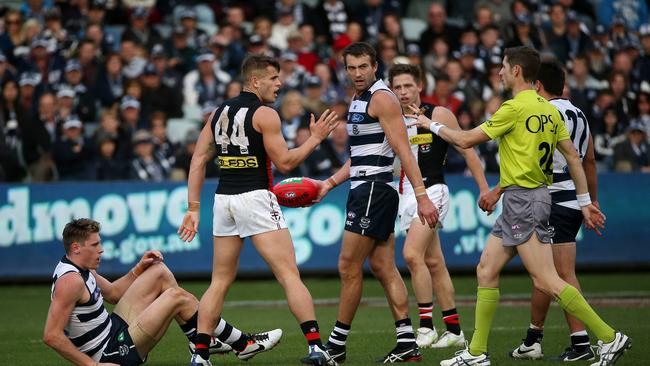 Saint Maverick Weller was reported after a high bump on Geelong's Mark Blicavs. Picture: Colleen Petch