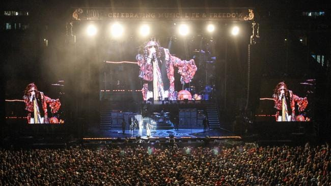 Legendary rockers ... Aerosmith perform in Sydney in 2013.