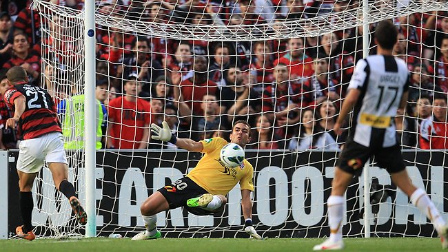 Mark Birighitti the Jets Goalkeeper made a number of fine saves against the Wanderers. Picture: Getty Images