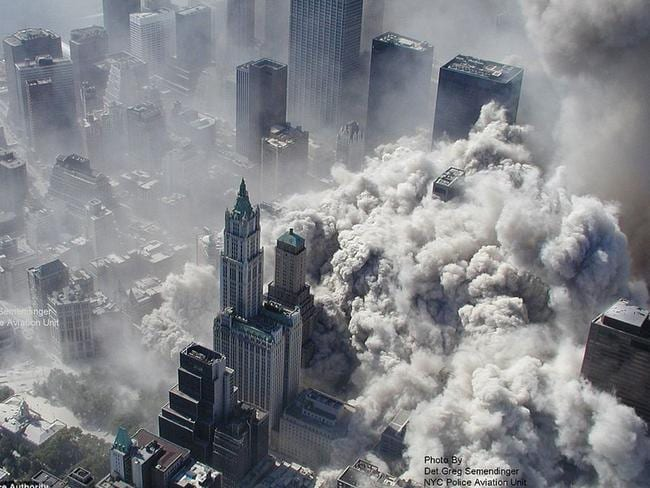 An aerial view of the collapsing World Trade Center in New York. Courtesy of ABC News/NYPD/Detective Greg Semendinger via AFP