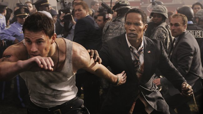 Jamie Foxx, right, and Channing Tatum, left, in a scene from White House Down.