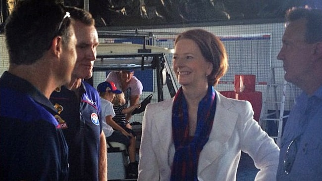 Julia Gillard chats with Western Bulldogs coach Brendan McCartney at the Bulldogs family day. Picture: Western Bulldogs Twitter / Instagram
