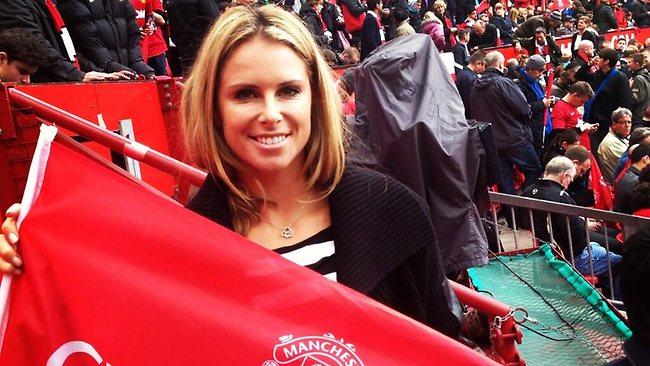 Candice Falzon shows her love of Manchester United at a recent match.