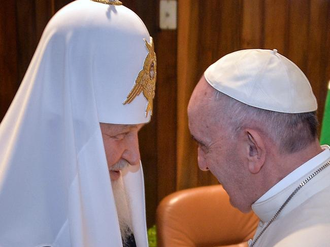 Pope Francis, right, greets the head of the Russian Orthodox Church, Patriarch Kirill in Havana.