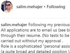 Salim Mehajer's typo-riddled search for a PA on Instagram