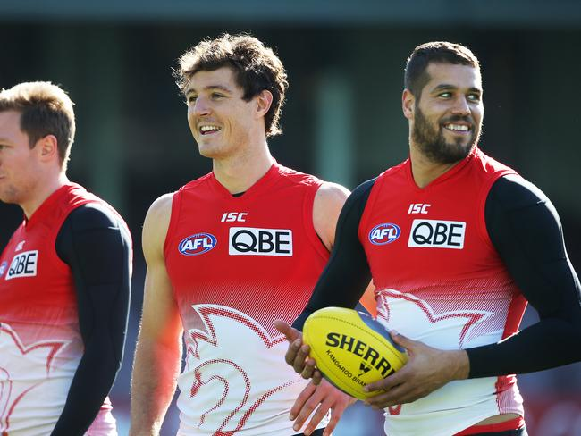 Sydney's dream team of Kurt Tippett and Lance Franklin this week. Picture: Phil Hillyard