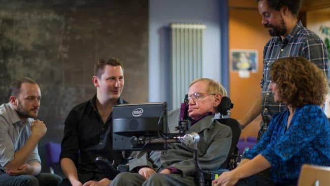 Professor Hawking with SwiftKey engineers Stephen Spencer and Joe Osborne and the team from Intel.