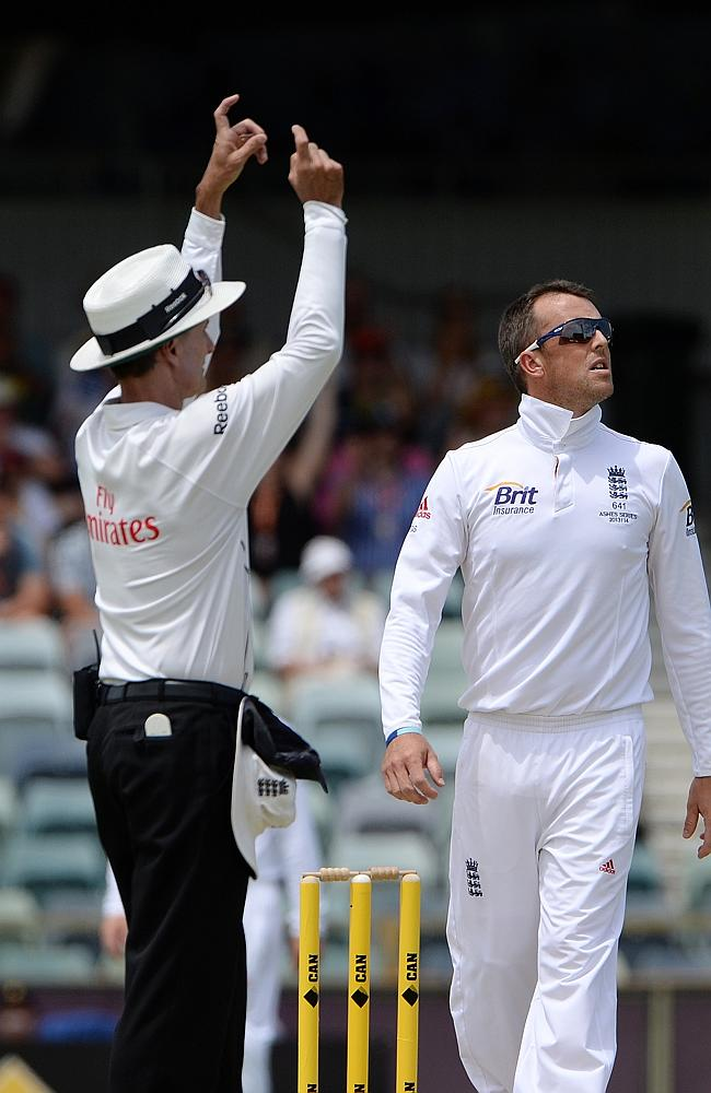 Graeme Swann watches after Shane Watson hit him for a third six in his final over of Test cricket.