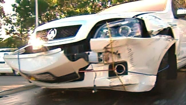 The damaged front of Troy Buswell's ministerial car. Picture: Nine News
