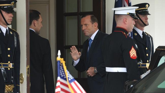 Australian Prime Minister Tony Abbott arrives at the White House to meet with President Obama. Picture: Jake Nowakowski