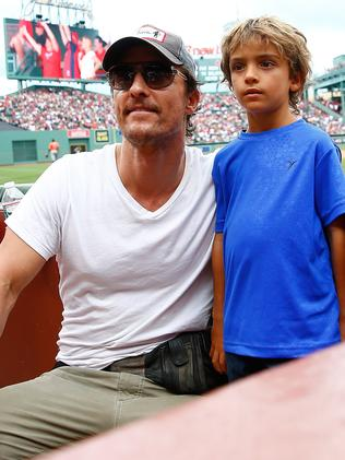 McConaughey's son Levi looks mortified.