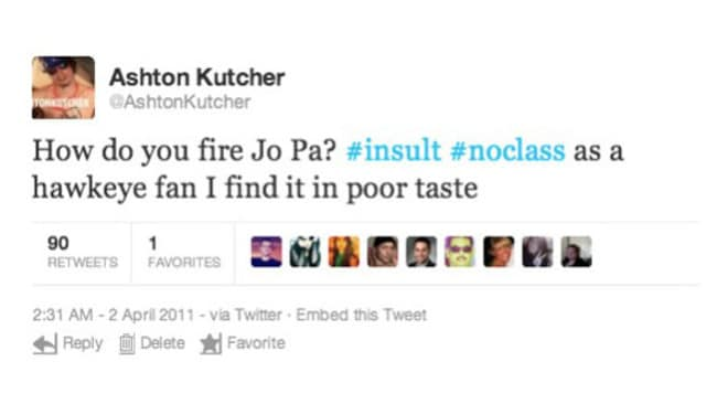 Kutcher later recanted the tweet.
