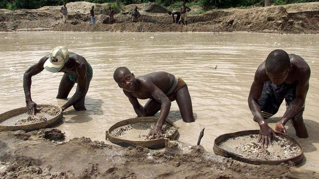 Diamond prospectors in Waiima, Sierra Leone. Picture: Adam Butler/AP