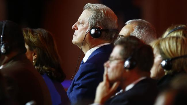 Al Gore at the Paris Agreement in 2015. (AP Photo/Francois Mori)