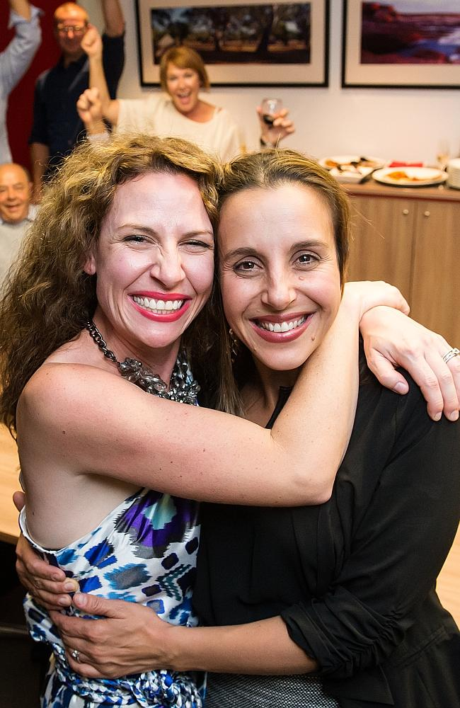 Happy mums ... Bree May and Jessica Liebich celebrate their win in MKR at Channel 7 in Hindmarsh. Picture: Tom Huntley