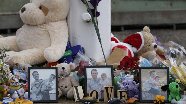 A memorial for Damien Little and his two young sons. Picture: Dean Martin