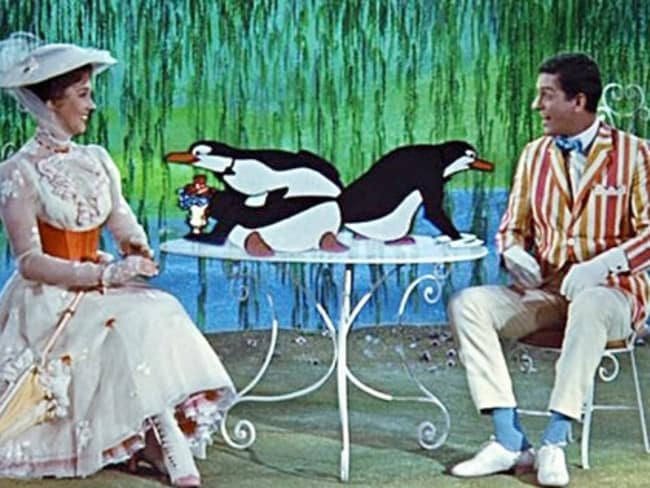 Julie Andrews and Dick Van Dyke as Mary and Bert in a favourite Poppins scene.