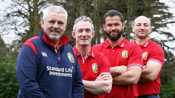 Lions coach Warren Gatland with assistants Rob Howley, Andy Farrell and Steve Borthwick.