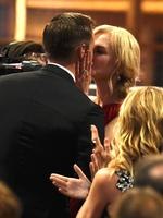 """Nicole Kidman congratulates Alexander Skarsgard after winning the award for outstanding supporting actor in a limited series or a movie for """"Big Little Lies"""" at the 69th Primetime Emmy Awards on Sunday, Sept. 17, 2017, at the Microsoft Theater in Los Angeles. Picture: Getty"""