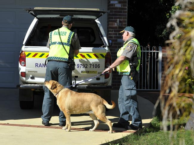 Rangers and RSPCA staff take away a dog from the Farnells' house on Tuesday ... it has since been revealed that the couple were inside the house at the time.