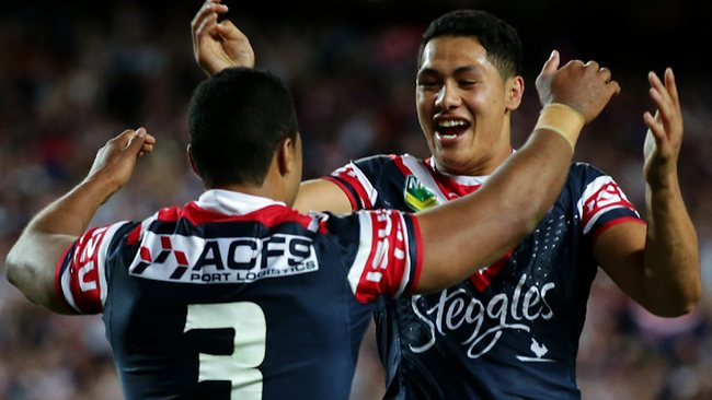 Roger Tuivasa-Sheck celebrates with Michael Jennings. Picture: Gregg Porteous