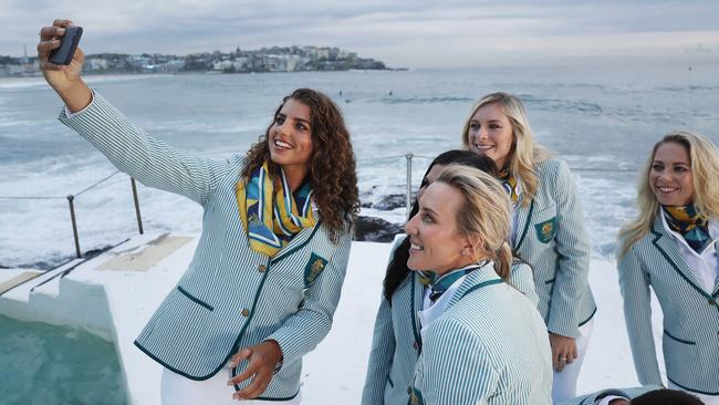 Australian athletes pose in the Opening Ceremony uniforms for the 2016 Rio Olympic Games.