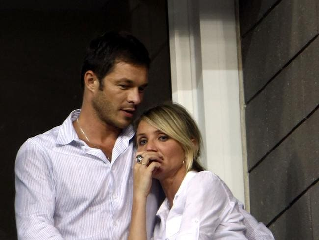 Briefly dated ... Actress Cameron Diaz and Paul Sculfor attend the US Open in 2008.