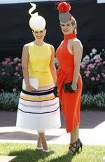 2015 Melbourne Cup Day at Flemington Racecourse. Myer Fashion in the Field. Arriell Scuderi of Qld. and Sarah Cremona NSW. Picture: David Caird.