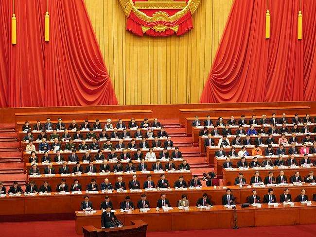 Chinese President Xi Jinping delivers a speech during the closing session of the National People's Congress. Picture: Lintao Zhang/Getty Images.