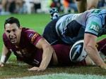 Billy Slater scores. Queensland vs New South Wales for game 3 of the State of Origin Series at Suncorp Stadium in Brisbane. Pic Peter Wallis