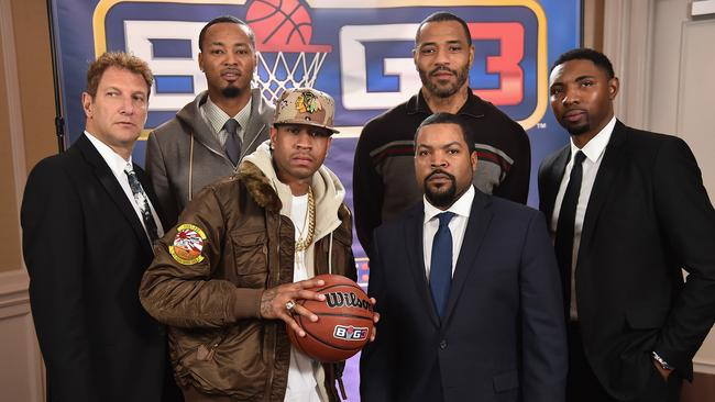 Jeff Kwatinetz, Rashard Lewis, Allen Iverson, Ice Cube, Kenyon Martin, and Roger Mason Jr. attend a press conference announcing the launch of the BIG3, a new, professional 3-on-3 basketball league.