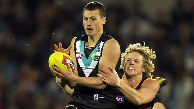 The Kangaroos are frontrunners to snare homesick Port Adelaide defender Ben Jacobs. Picture: Simon Cross.