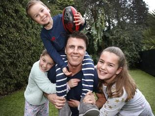 Matthew Lloyd and kids in PJs