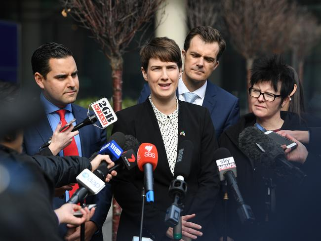 Human Rights Law Centre director of legal advocacy Anna Brown speaking alongside marriage equality advocates outside a High Court challenge to the postal vote on same-sex marriage. Picture: AAP