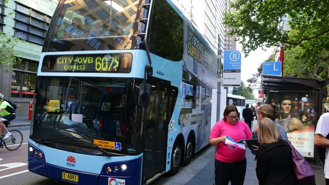 At least 50 of Sydney's buses are taking part in the free Wi-Fi trial. Picture Cameron Richardson