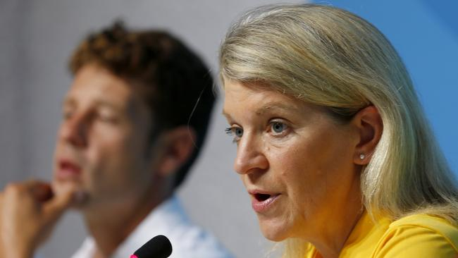 Australian Chef de Mission Kitty Chiller addresses the media in Rio following reports of thefts from the team. Picture: Cameron Tandy