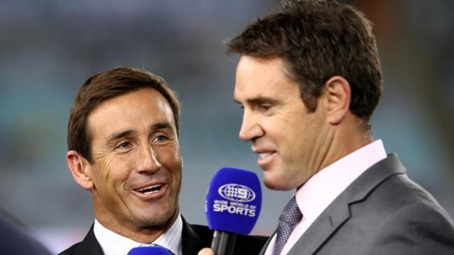NSW legends Andrew Johns and Brad Fittler.