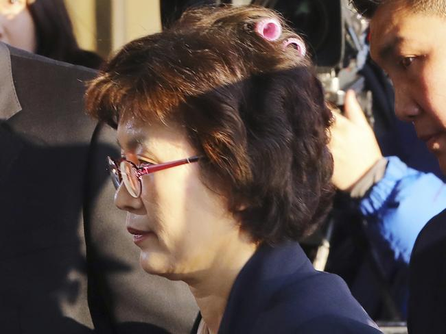 Acting Chief Justice Lee Jung-mi arrived with curlers in her hair at the Constitutional Court in Seoul for the historic unanimous ruling. Picture: Ju-sung/Yonhap.