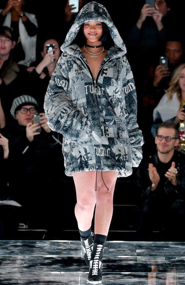 Debut ... Rihanna walks the runway at the FENTY Puma by Rihanna AW16 Collection for New York Fashion Week. Picture: JP Yim/Getty Images for FENTY Puma