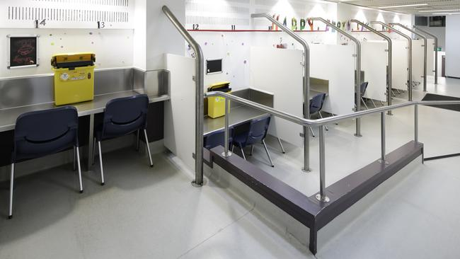 Drug injecting booths at the injecting centre in Kings Cross. Picture: Uniting MSIC