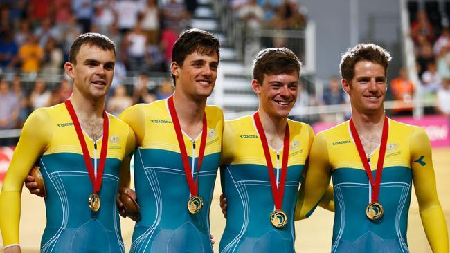 Gold medallists Jack Bobridge, Luke Davison, Alex Edmondson and Glenn O'Shea of Australia.