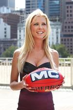 The cast of American Pie meet Collingwood players in Melbourne. Tara Reid