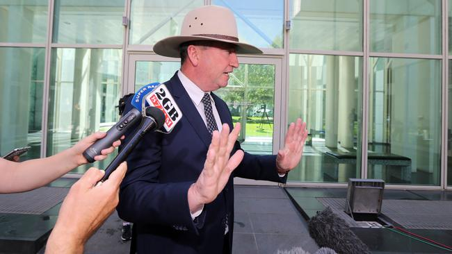 Deputy Prime Minister Barnaby Joyce during a press conference at Parliament House in Canberra. Picture: Gary Ramage
